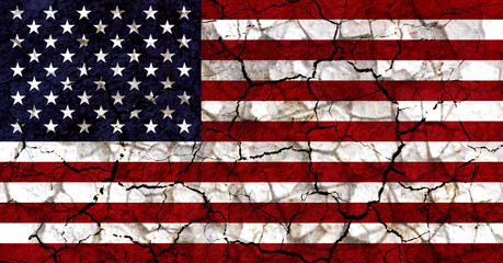 united states of america USA america country flag painted on a cracked grungy wall