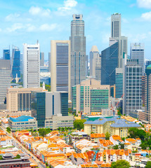Aerial Skyline Singapore Downtown  Chinatown