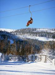 Karkonosze Mountains, Poland: February, 2011 - ski lift on Kopa Mountain, Karpacz