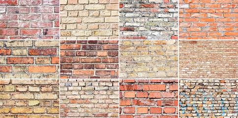 Set of twelve grunge brick wall textures.