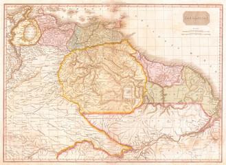 1818, Pinkerton Map of Northeastern South America, Venezuela, Guyana, Surinam, John Pinkerton, 1758 – 1826, Scottish antiquarian, cartographer, UK