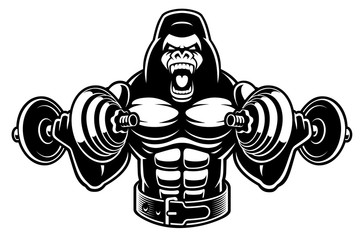 Vector illustration of a gorilla bodybuilder with dumbbells