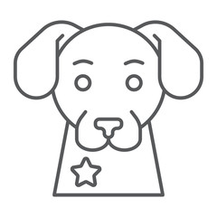 Police dog thin line icon, guard and pet, animal sign, vector graphics, a linear pattern on a white background.