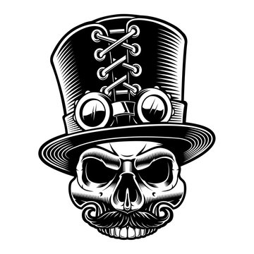 Vector illustration of a steampunk skull in top hat