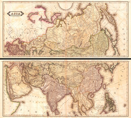 1820, Lizars Wall Map of Asia, in two panels