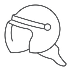 Helmet thin line icon, protection and uniform, police helmet sign, vector graphics, a linear pattern on a white background.