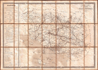 Fotomurales - 1833, Charle Map of the Dept. of Morbihan, Bretagne, France