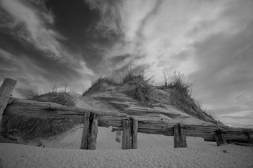 Sand dunes and old fences