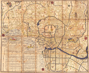 Wall Mural - 1849, Japanese Map of Edo or Tokyo, Japan