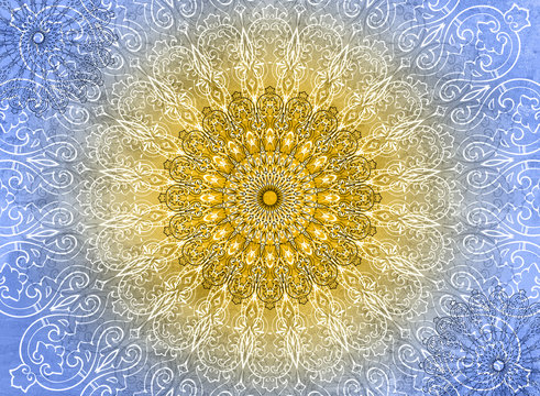 Mandala Blue and Yellow Background