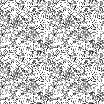 Big seamless pattern with black and white stylized curls and waves for fabric textile design, pillow or wrapping. Vector illustration