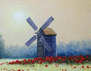 Oil paintings rural landscape. Old village, fine art.