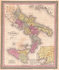 Fotomurales - 1853, Mitchell Map of Southern Italy, Naples, Sicily