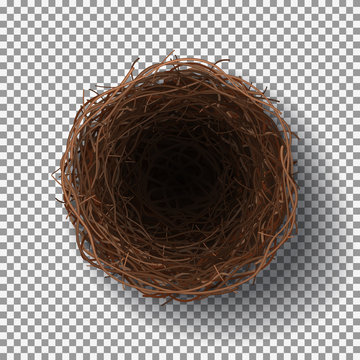 Wicker nest isolated on transparent background. Realistic top view on empty bird nest. Vector illustration.
