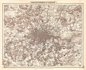 1855, Colton Map of London, England