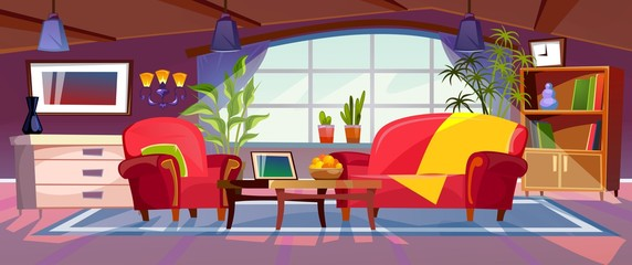 Cartoon living room interior view. Empty colorful room design with sofa, armchair, coffee table, bookshelves and plants. Vector illustration