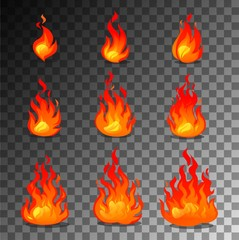 Cartoon fire animation design. Vector fireplace illustration for animation, games etc.