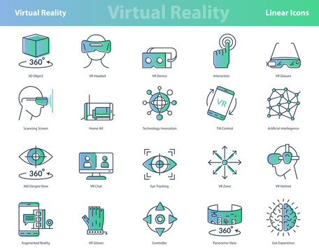 Set of linear virtual reality colored icons