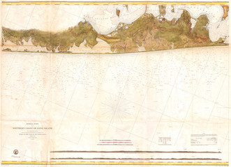 Fototapete - 1857, U.S. Coast Survey Map of Eastern Long Island, Hamptons, Amagansett