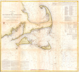 Fotomurales - 1857, U.S. Coast Survey Map of Cape Cod, Nantucket, and Martha's Vineyard
