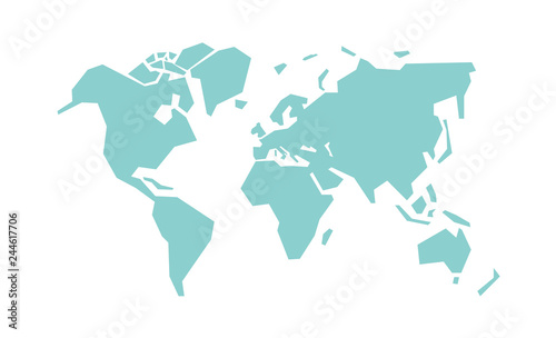 Simplified world map. Stylized vector illustration ...
