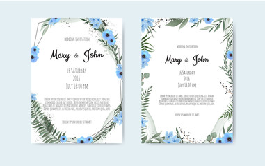 Set of card with flower rose, leaves and geometrical frame. Wedding ornament concept.