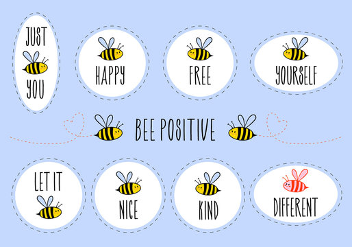 Motivational quotes with bee, vector sticker set