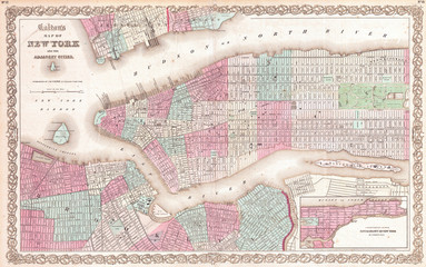 Fototapete - 1861, Colton Map of New York City w- Brooklyn, Manhattan, and Hoboken
