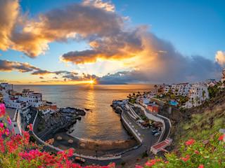 Sunrise in Puerto de Santiago town in summer season, Tenerife of Canary island, Spain