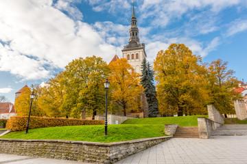 Europe, Eastern Europe, Baltic States, Estonia, Tallinn. St. Nicholas church tower, steeple.