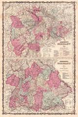 1862, Johnson Map of Western Germany, Bohemia, Westphalia, Luxemburg