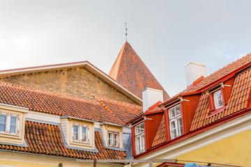 Europe, Eastern Europe, Baltic States, Estonia, Tallinn. Old town, roof line.