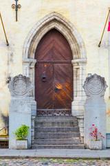 Europe, Eastern Europe, Baltic States, Estonia, Tallinn. Old town, Church door.