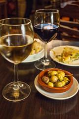 Wine with tapas in bar_Malaga Spain