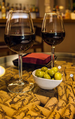 Wine with olives tapas in bar_Malaga Spain