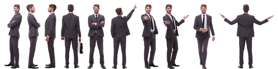 panoramic collage of various photos of a young businessman Wall mural