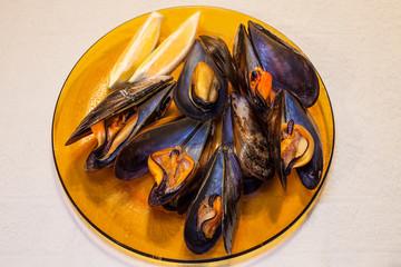 Plate of steamed mussles_Salobreña_Granada Spain