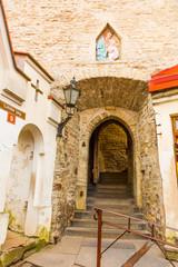 Europe, Eastern Europe, Baltic States, Estonia, Tallinn. Old town, narrow cobblestone  Arched passageways.
