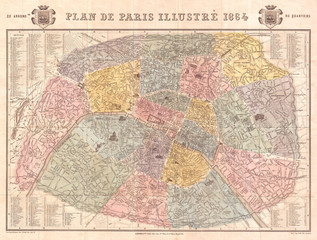 1864, Garnier Map of Pairs, France w-Monuments