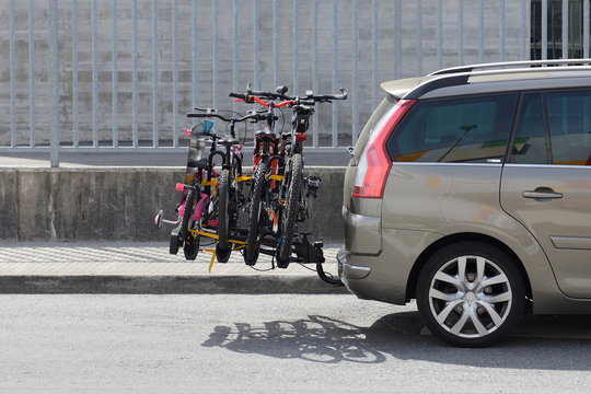 car with a bicycle rack transportation
