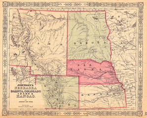Fototapete - 1864, Johnson Map of Idaho, Dakota, Nebraska, Kansas and Colorado