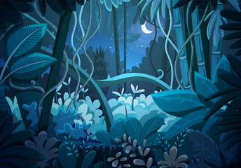 Vector illustration of tropical jungle background. Landscape at night with moon and stars in dark blue sky. Rainforest with dense vegetation of trees, bushes and lianes.