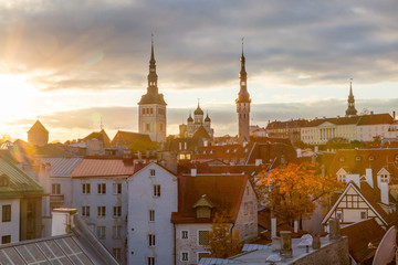 Europe, Eastern Europe, Baltic States, Estonia, Tallinn. old town, along the city walls. Roof tops. Skyline.