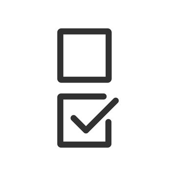 Checkbox set with blank and checked checkbox line art vector icon for apps and websites. editable stroke.