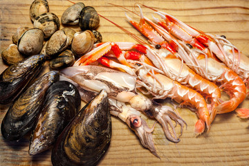 Clams, mussels, squid, shrimp for seafood paella