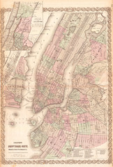 Fotomurales - 1865, Colton Map of New York City, Manhattan, Brooklyn, Long Island City