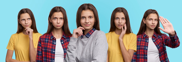 Set of beautiful woman portraits with different emotions and facial expressions. Attractive young female student  changes her mood during photo session