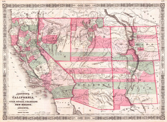 1866, Johnson Map of California, Colorado, Arizona, New Mexico, Nevada and Utah