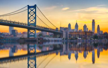 Philadelphia Sunset Skyline Refection