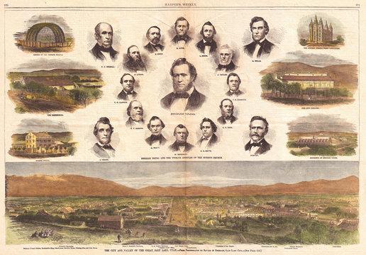 1866, Harper's Weekly View of Salt Lake City, Utah, w- Brigham Young, Mormons